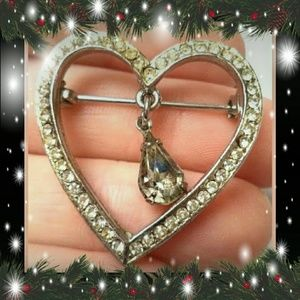 Silver Tone CZ Heart Brooch Crystal CZ at Center
